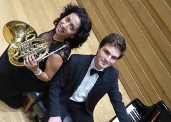 Amy Thakurdas (horn) and Felix Tennie (piano)
