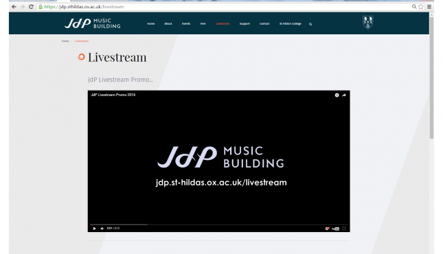 Livestreaming from the JdP, Oxford